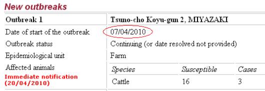 国際獣疫事務局 口蹄疫 日本 Immediate notification